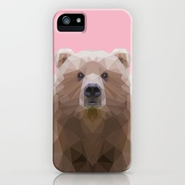 Low poly bear on pink background iPhone Case