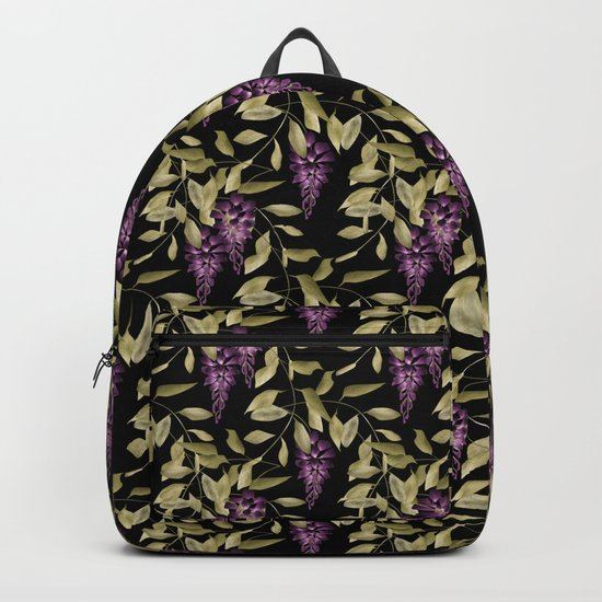 The Branches Of Wisteria . Black . Backpack