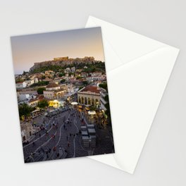 Classic sunset view over Athens with the Acropolis in the backdrop   Travel photography Greece Stationery Cards