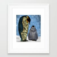 penguins Framed Art Prints featuring Emperor Penguins by Ben Geiger