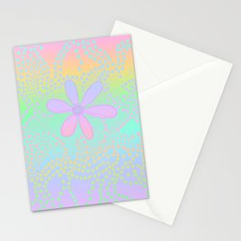 Pastel Rainbow Flower and Dots Stationery Cards