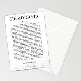 Desiderata by Max Ehrmann - Typography Print 18 Stationery Cards
