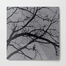 Happy Halloween spooky tree, black and gray Metal Print