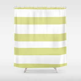 VA Lime Green - Lime Mousse - Bright Cactus Green - Celery Hand Drawn Fat Horizontal Lines on White Shower Curtain