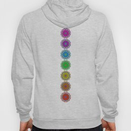 Colorful Rainbow Chakra Mandala , Yoga & Meditation Seven Sacred Mandalas Flower Painting Hoody