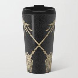 Gold Arrows on Black Travel Mug