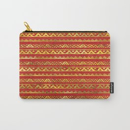 Geometric Lines Tribal  gold on red leather Carry-All Pouch