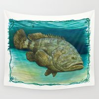 biology Wall Tapestries featuring Goliath Grouper ~ Watercolor by Amber Marine