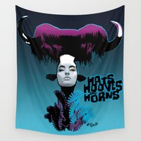 hats Wall Tapestries featuring Hats, Hooves and Horns by el brujo