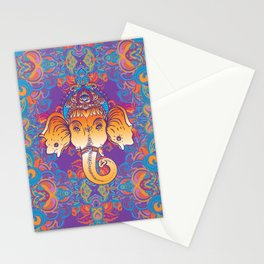 Hindu Lord Ganesha over ornate colorful mandala.  Stationery Cards