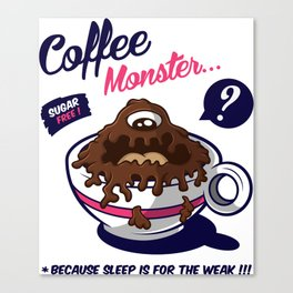 Coffee Monster Pink Canvas Print