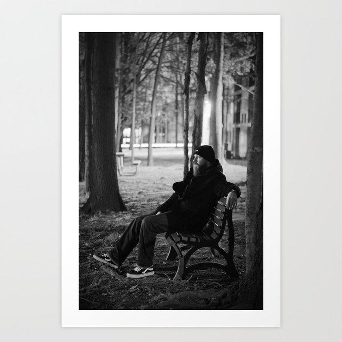 Bearded Man on Bench Art Print