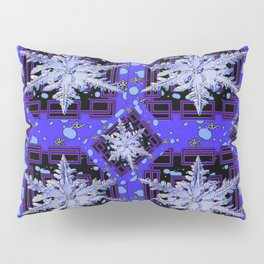 BLUE WINTER HOLIDAY SNOWFLAKES PATTERN ART Pillow Sham