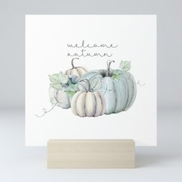 welcome autumn blue pumpkin Mini Art Print