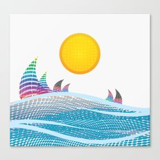 Sun and sea in CMYK Canvas Print