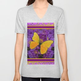 DECORATIVE LILAC-YELLOW FRAMED BUTTERFLY Unisex V-Neck