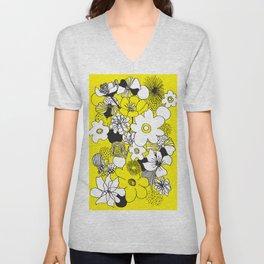 Floral Medley - Yellow Unisex V-Neck