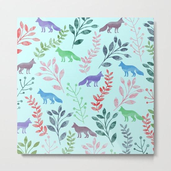 Watercolor Floral & Fox Metal Print