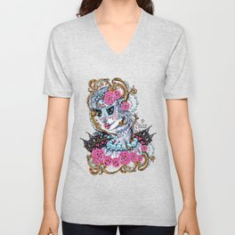"""Unforgettable"" sugar skull portrait of a big eyed woman Unisex V-Neck"