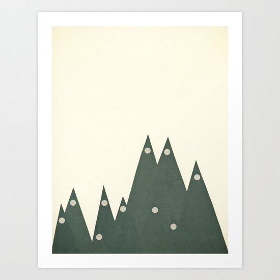 Moonlit Peaks Art Print
