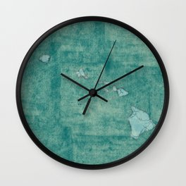 Hawaii State Map Blue Vintage Wall Clock