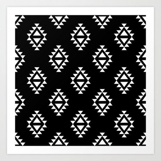 Linocut southwest minimal pattern black and white print scandinavian minimalism Art Print