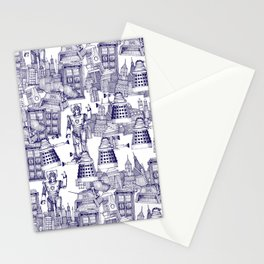 Doctor Who Toile de Jouy | 'Walking Doodle' | Blue Stationery Cards