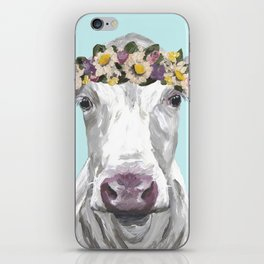 Cute Cow Up Close, Flower Crown Cow iPhone Skin