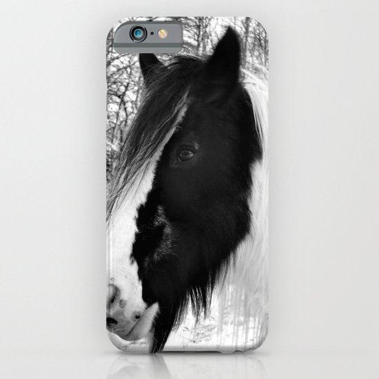 Horse. Black+White.Snow. iPhone & iPod Case