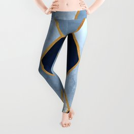 Deco Blue Marble II with Metallic Gold Accents Leggings