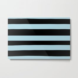 VA Healing Aire Blue - Angelic Blue - Soothing Blue Hand Drawn Fat Horizontal Lines on Black Metal Print