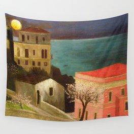 Full Moon over Taormina, Sicily, Italy - Ionian Sea landscape painting by Csontváry Kosztka Tivadar Wall Tapestry