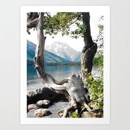 Tetons at Jackson Lake Wyoming Art Print