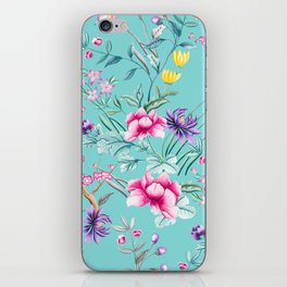 Chinoiserie Decorative Floral Motif Pale Turquoise iPhone Skin