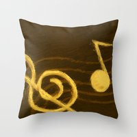 music notes Throw Pillows featuring Golden Umber Music Notes by Tina A Stoffel Arts