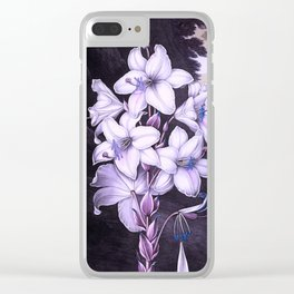 The White Lily w/ Variegated-leaves Lavender Temple of Flora Clear iPhone Case