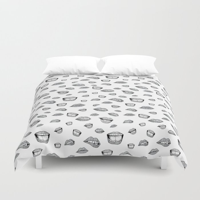Lips. Black and white drawing. Duvet Cover