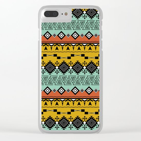 Colorful Aztec pattern. Clear iPhone Case