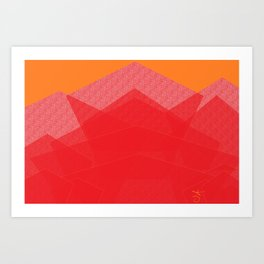 Colorful Red Abstract Mountain Art Print