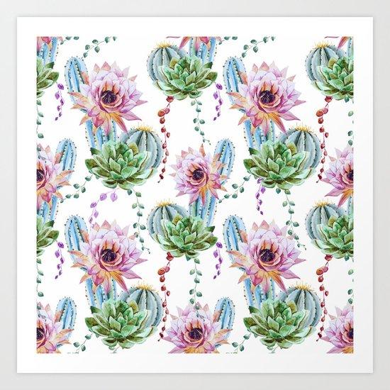Cactus Pattern 08 Art Print