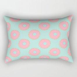 Pink Doodle Donuts Pattern on an aqua blue background Rectangular Pillow