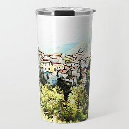 Tortora view with red flower Travel Mug