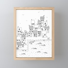 Harbour sketch Framed Mini Art Print