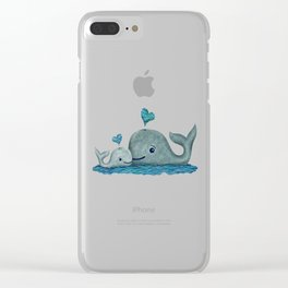 Whale Mom and Baby with Hearts in Gray and Turquoise Clear iPhone Case