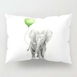 Baby Elephant with Green Balloon Pillow Sham