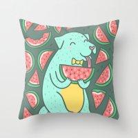 daria Throw Pillows featuring Watermelon Dog by Anna Alekseeva kostolom3000