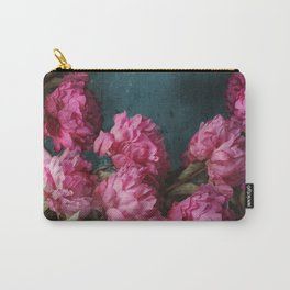 Peony Romance Teal Carry-All Pouch