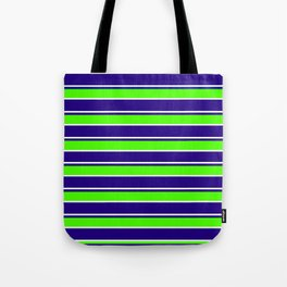 Nautical Stripes, Navy, Chartruce and White Tote Bag
