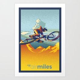 Retro Mountain Bike Poster/ Illustration / fine art print MY AIR MILES Art Print