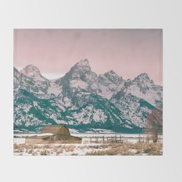 Grand Tetons Barn Throw Blanket